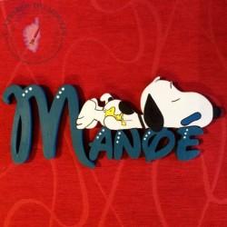 Plaque de porte prénom décoré avec Snoopy