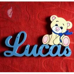 Plaque de porte prénom décoré d'un petit ourson