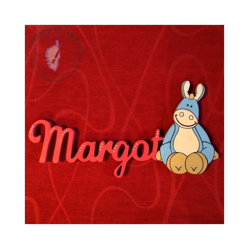 Plaque de porte avec prénom décoré de Paco le petit âne