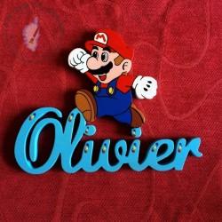 Plaque de porte Prénom décoré avec Mario