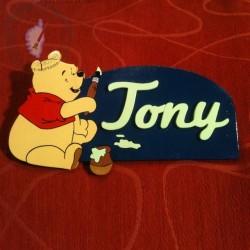 Plaque de porte Winnie à personnaliser par la couleur et le prénom