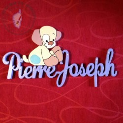 Plaque de porte Prénom décoré avec le chien Doudou