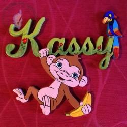 Plaque de porte prénom décoré avec un petit singe