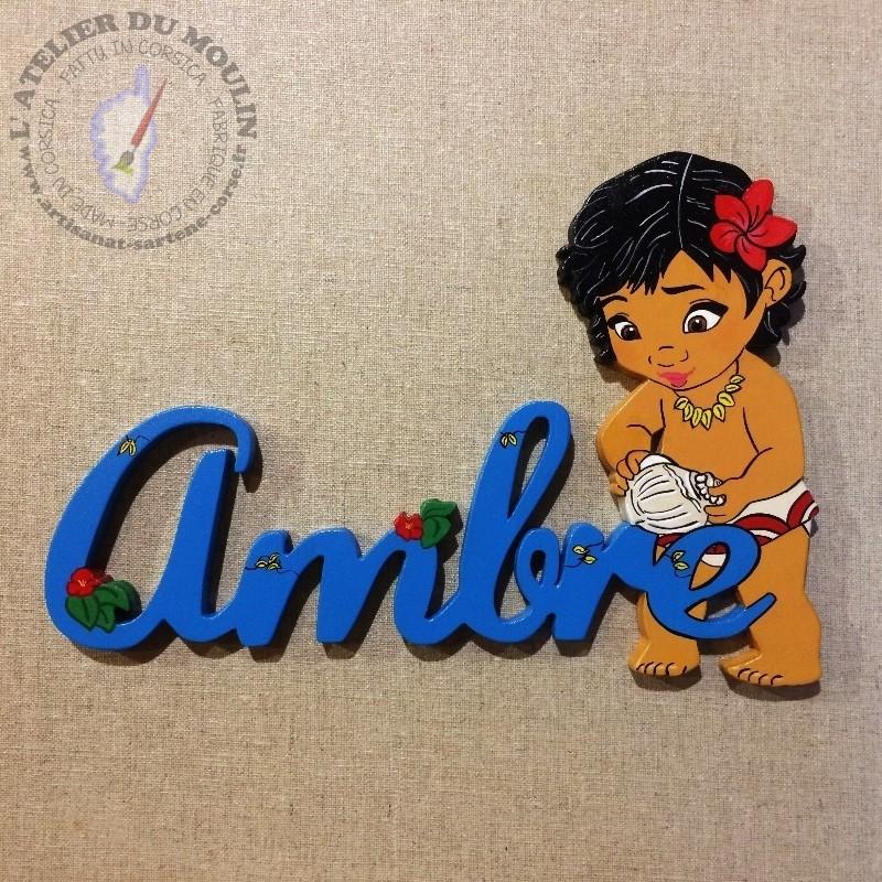 Plaque de porte Prénom décoré avec Vaïana enfant