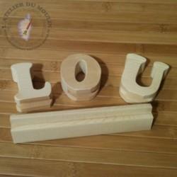 Lettres sur glissière LOU démontée