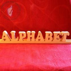 Lettres sur glissière le mot alphabet