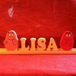 Lettres sur glissière Lisa et  barbatimide et barbacontent
