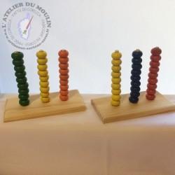 Boulier de 3 fois 9 perles en bois pour apprendre à compter les dizaines Inspiré de la méthode Montessori