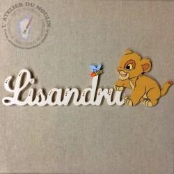 Plaque de porte prénom décoré avec Simba bébé