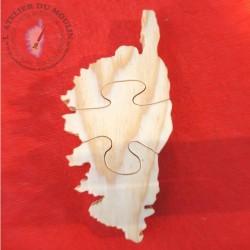 Puzzle en PIN MASSIF de la Corse  L'île de beauté en 3 pièces.