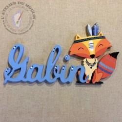 Petit renard indien décoré de bleu Le prénom Gabin est en bleu azur clair