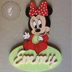Plaque de porte Minnie Baby en bois de peuplier