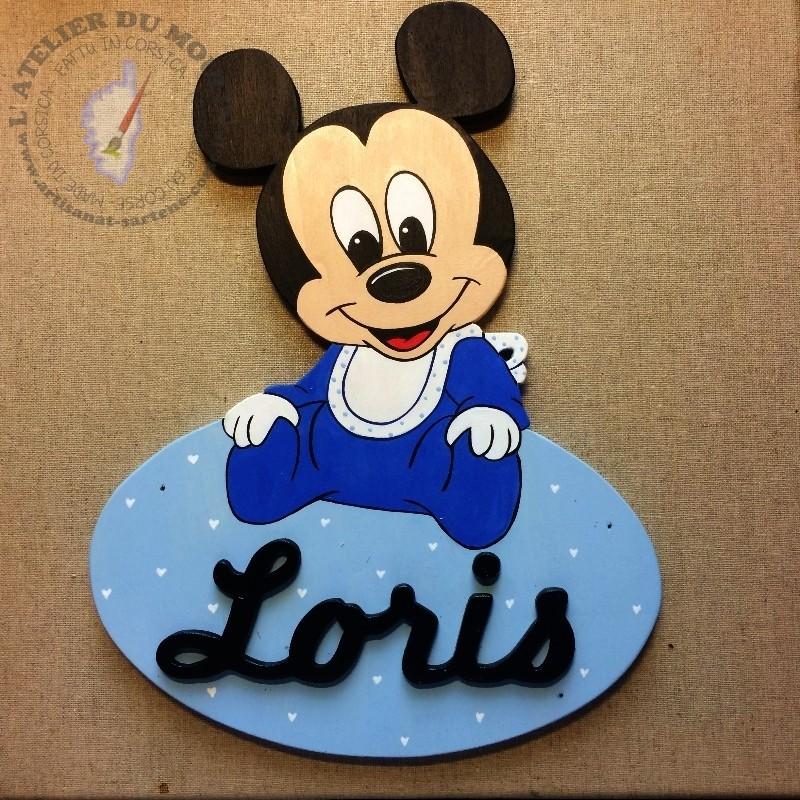 Plaque de Porte Mickey Baby à personnaliser par les couleurs et le prénom