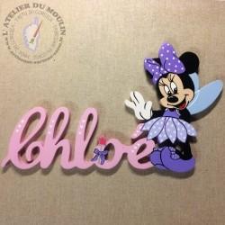 Robe violette et prénom rose princesse Plaque de porte prénom décoré avec Minnie Fée