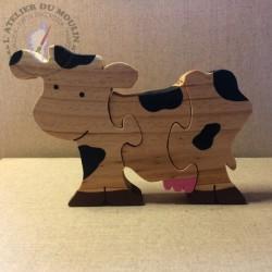Puzzle Vache en pin massif 3 pièces