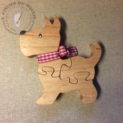 Puzzle petit chien Scottish 3 pièces avec ruban au choix