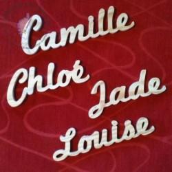 Prénom en bois épaisseur 1 cm Camille Chloé Jade