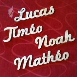 Prénom en bois Lucas Timéo Noah Mathéo