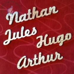 Prénom en bois  Nathan Jules Hugo Arthur